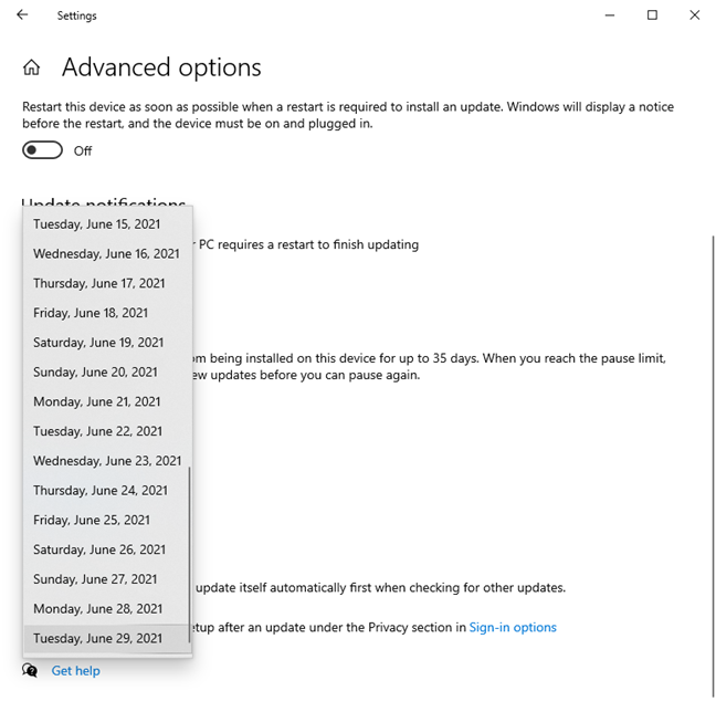 Choose the date until when Windows 10 updates are delayed