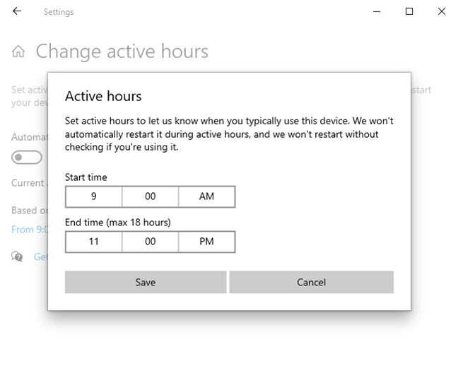 Setting active hours for Windows 10 updates