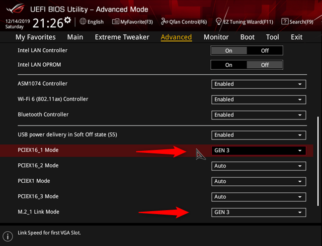Setting the PCI Express interface on ASUS ROG Crosshair VIII Hero (Wi-Fi)
