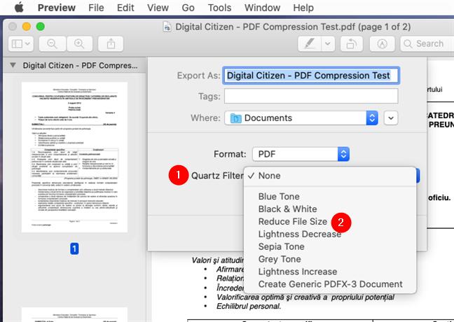 Elegir reducir el tamaño del archivo para hacer el PDF más pequeño