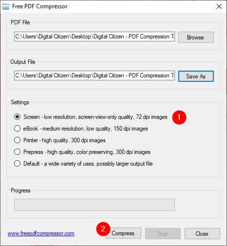 Selecting a PDF compression level