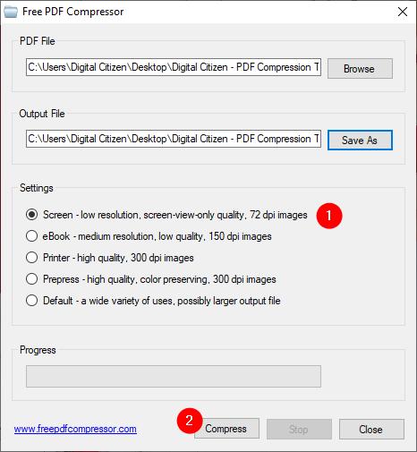 Seleccionar un nivel de compresión de PDF