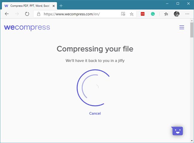 El PDF se está comprimiendo