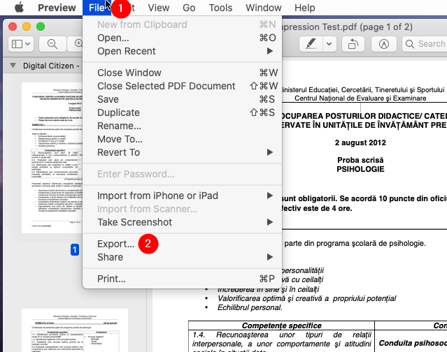 Opening the PDF in Preview on a Mac and choosing to Export it