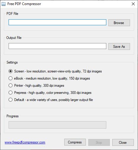 La aplicación Free PDF Compressor