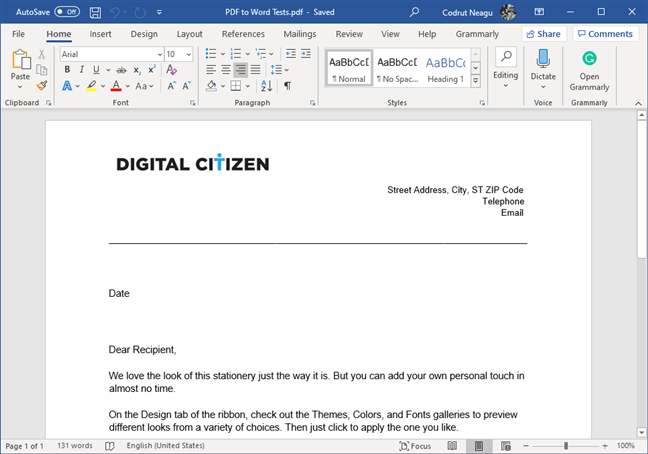A PDF file that has been converted into an editable Word document