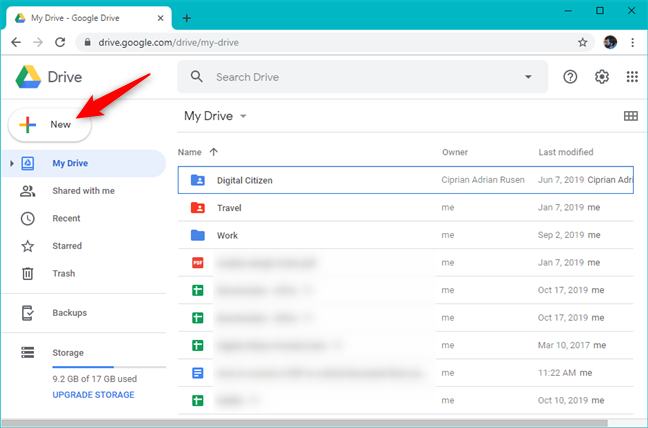 The New button from Google Drive