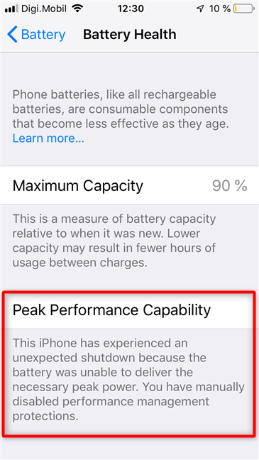 Disabled Peak Performance Capability on an iPhone