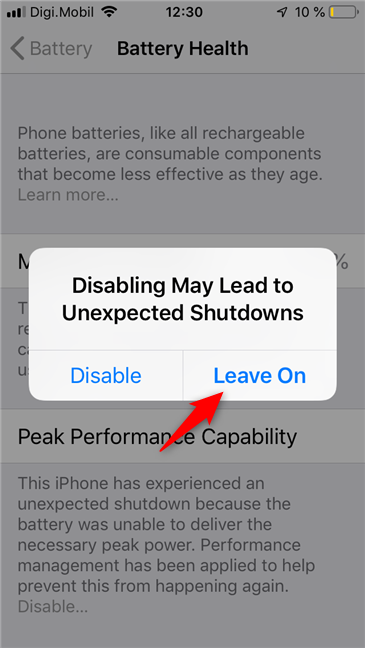 Disabling the Peak Performance Capability on an iPhone