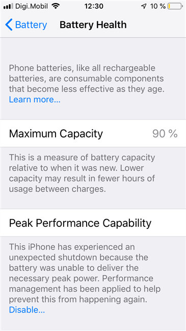 The Battery Health features found on an iPhone