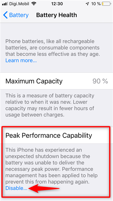 The Peak Performance Capability found on the Battery Health screen