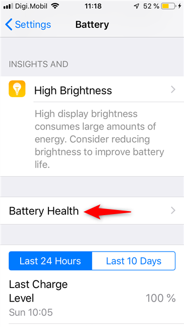 The Battery Health entry on an iPhone