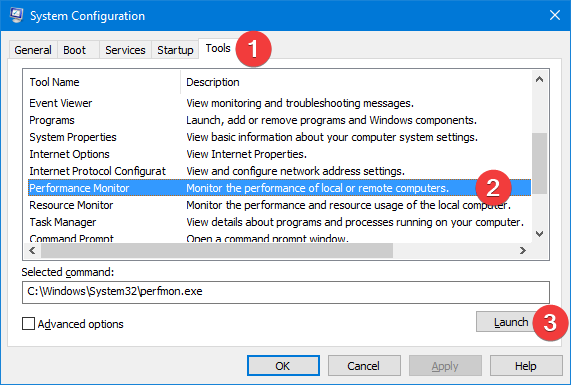 Start Performance Monitor from System Configuration