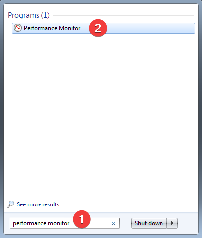 """Search for """"Performance Monitor"""" in Windows 7"""
