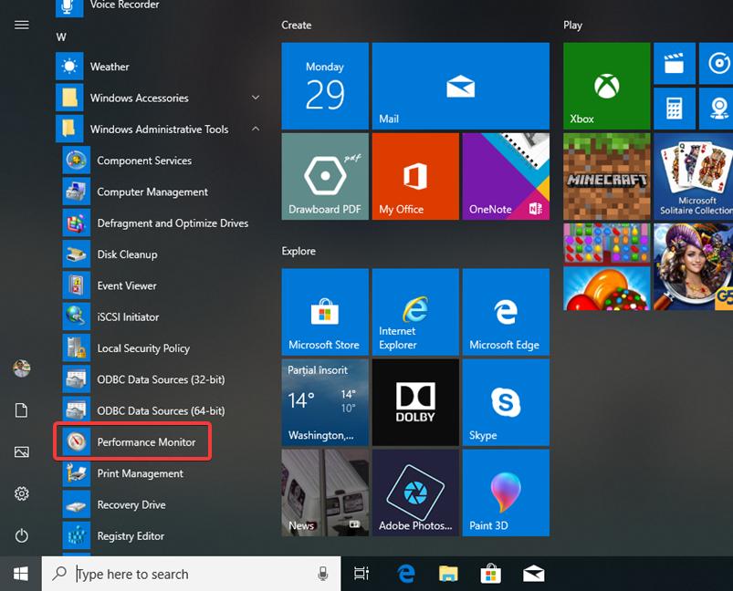 Performance Monitor in the Start Menu in Windows 10