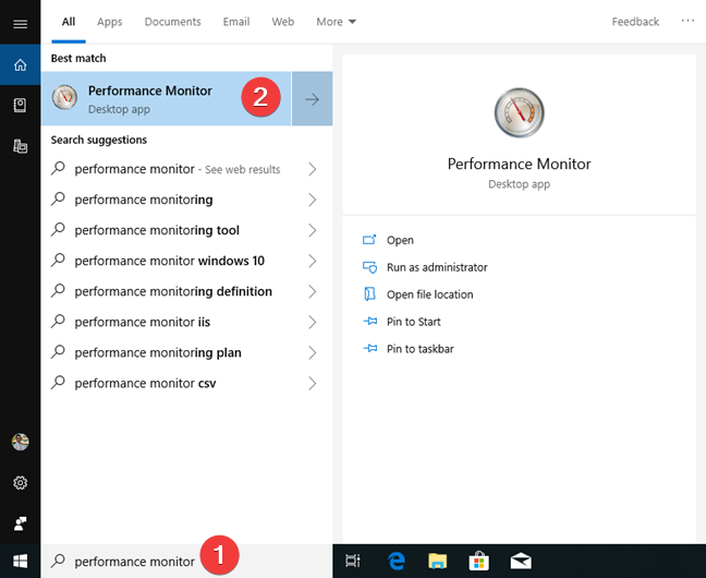 Search for Performance Monitor in Windows 10