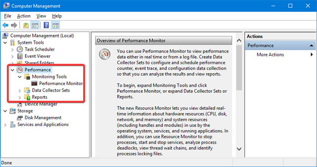 Run Performance Monitor inside Computer Management