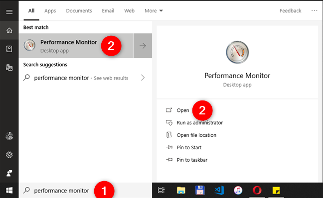 Opening the Performance Monitor in Windows 10