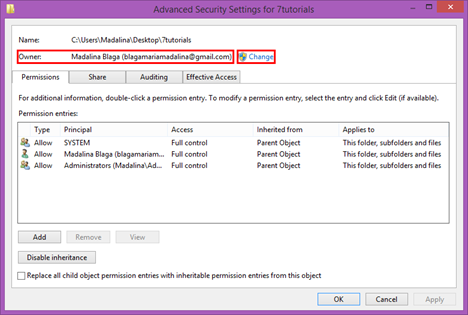 ownership, permissions, files, folders, change, users, Windows 8.1