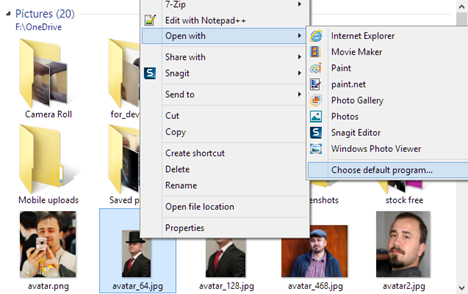 Windows Photo Gallery, set, default, image, pictures, viewer, files, types
