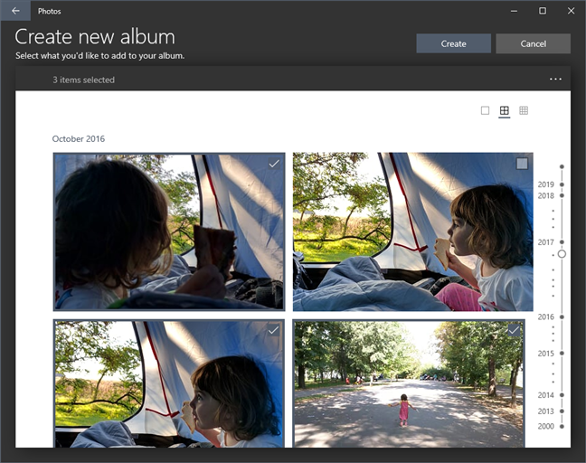 Adding photos and videos to a new album