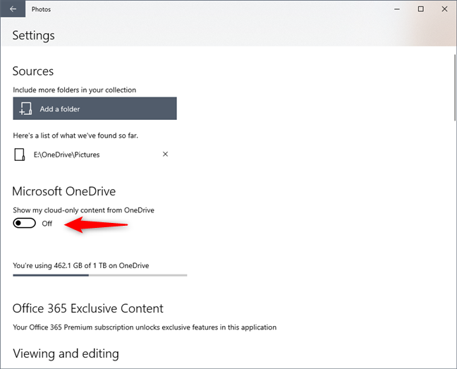 The Show my cloud-only content from OneDrive switch