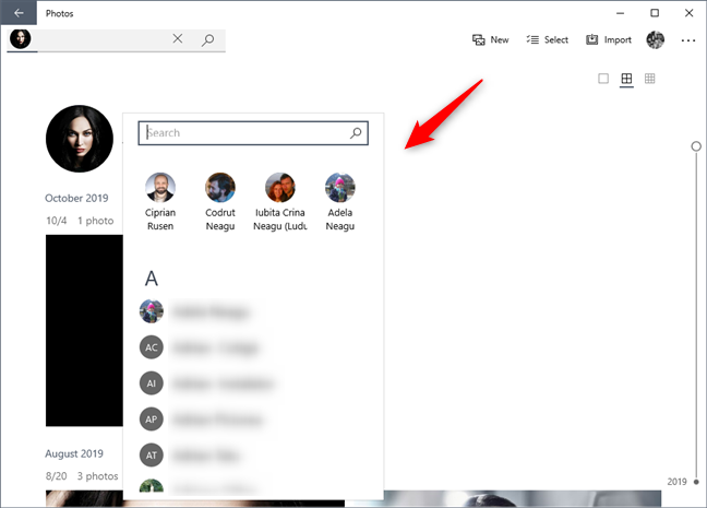 Tag photos by selecting a contact from People