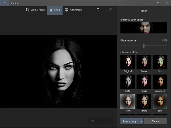 The Photos built-in editor has basic tools, filters, and adjustments available