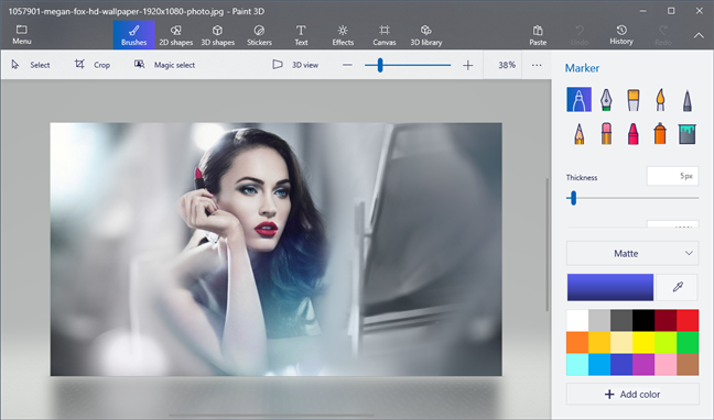 Photos lets you open pictures in Paint 3D