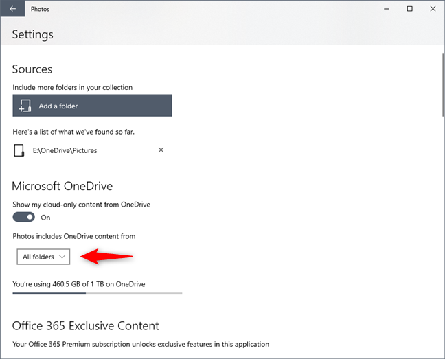 Photos can show cloud-only content from the OneDrive pictures folder or all the OneDrive folders