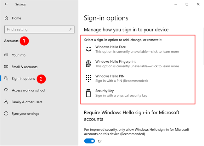 The Sign-in options from Windows 10 Settings