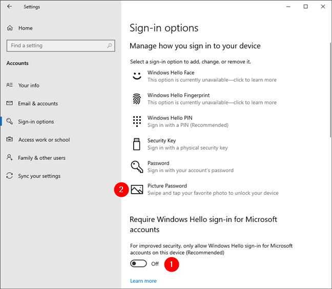 Turning off the Windows Hello sign-in enables Picture Password