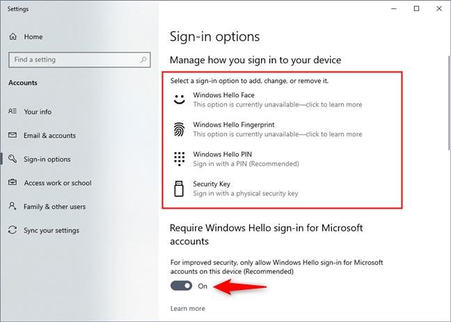 Require Windows Hello sign-in for Microsoft accounts