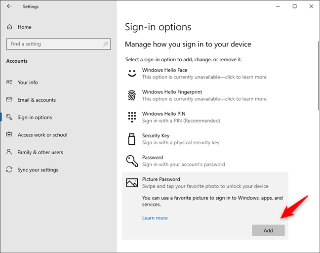 Choosing to Add a Windows 10 picture password