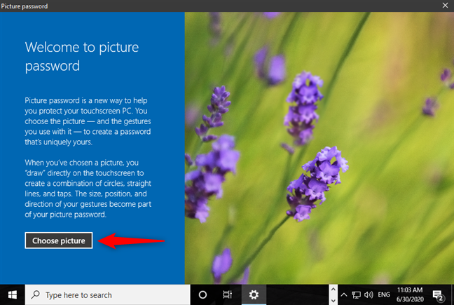 Choose picture to use for signing in to Windows 10