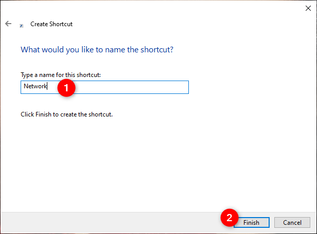 Choosing a name for the shortcut