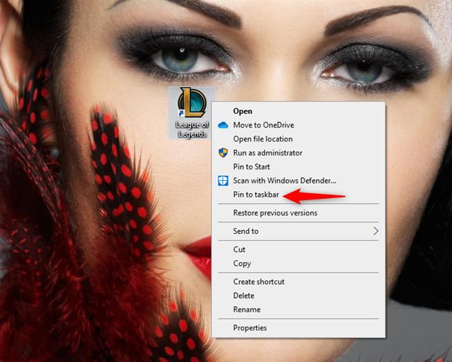 Pin a desktop shortcut to the taskbar
