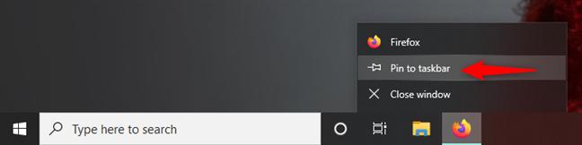 Pin an open app to the taskbar