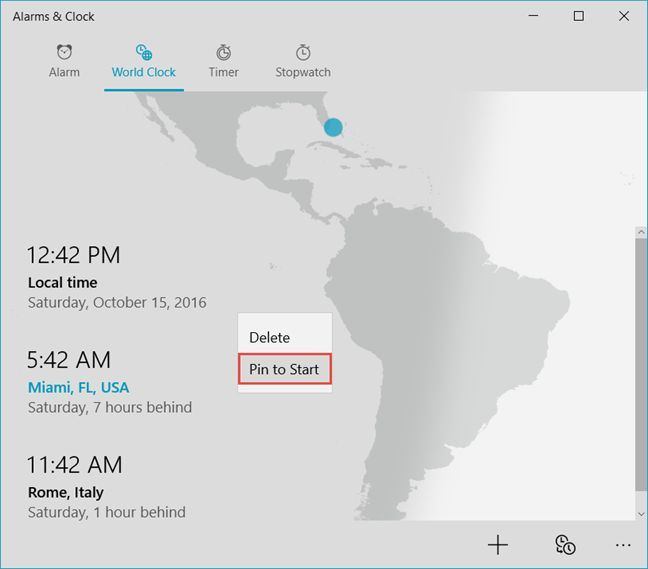 Windows 10, pin, time, Start Menu, cities, locations, world, clock