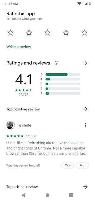 Scroll to rate the app or read reviews