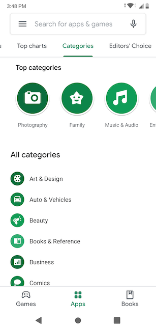 App Categories in the Play Store