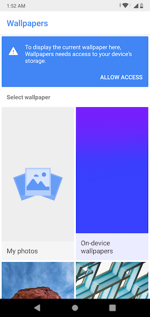 Wallpapers needs access to the device's storage