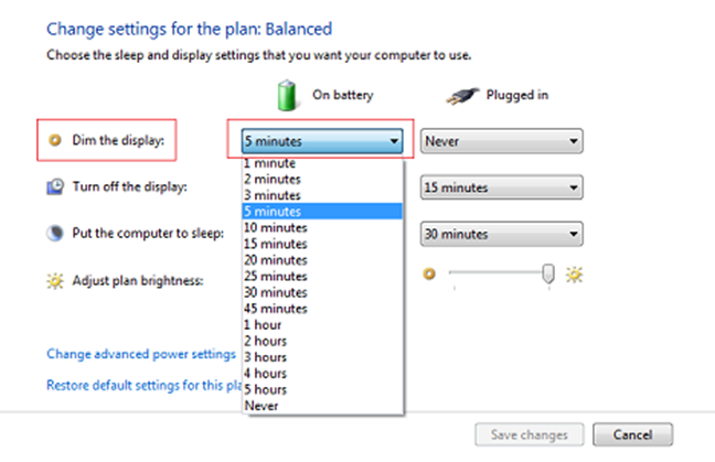 Windows, Power plan, settings
