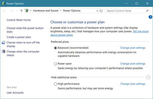 Windows, power plans