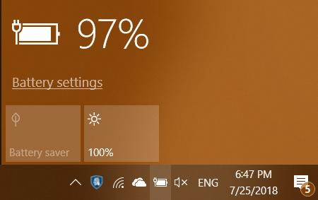 Windows 10, power slider