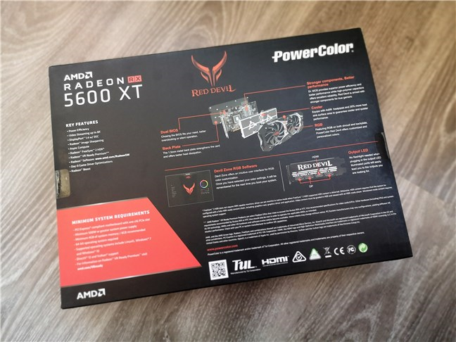 PowerColor Radeon RX 5600 XT Red Devil: The back of the box