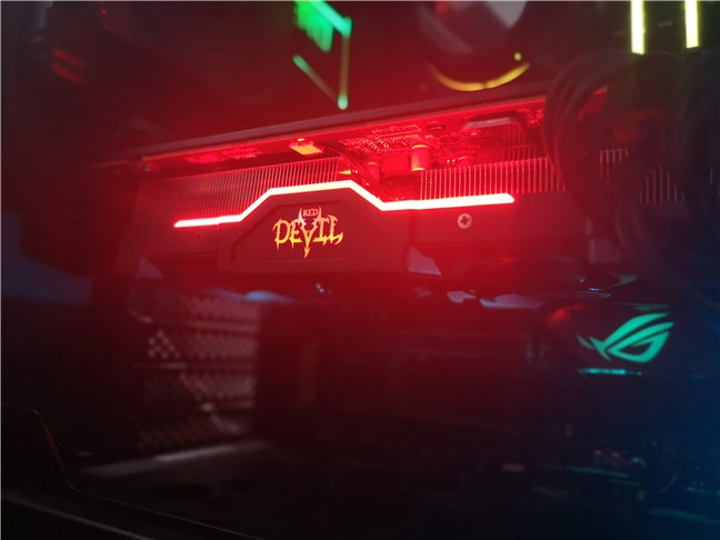 RGB lights on the PowerColor Radeon RX 5600 XT Red Devil
