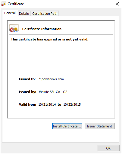 PowerLinks, ads, SSL, expired