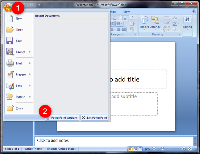 PowerPoint Options in Microsoft Office 2007
