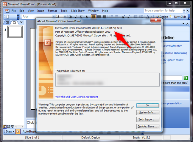 Version information for PowerPoint 2003